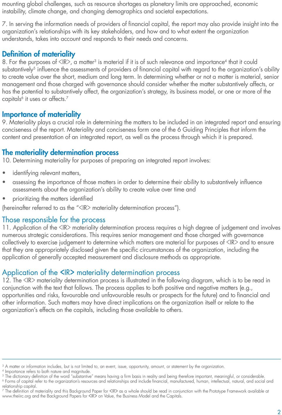organization understands, takes into account and responds to their needs and concerns. Definition of materiality 8.