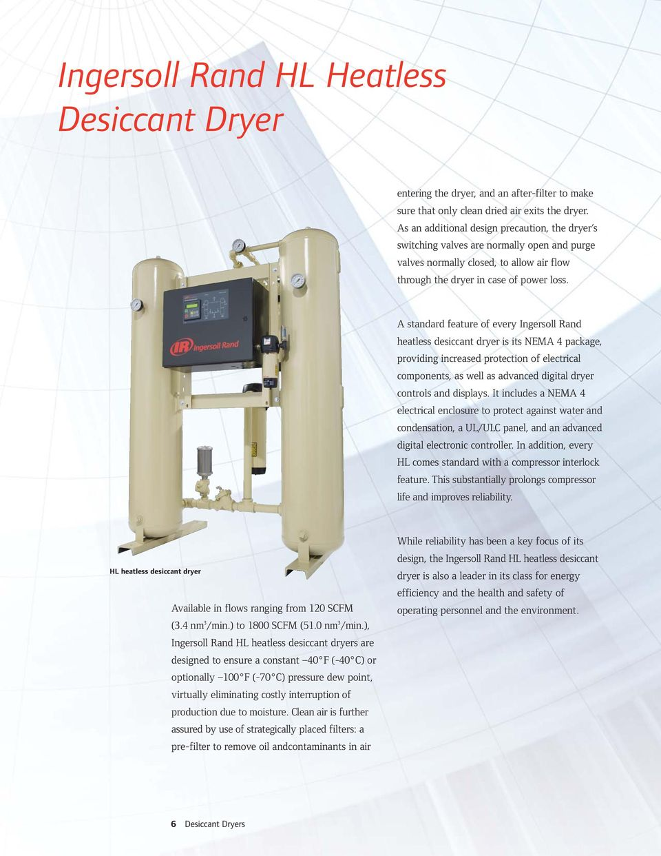 A standard feature of every Ingersoll Rand heatless desiccant dryer is its  NEMA 4 package,