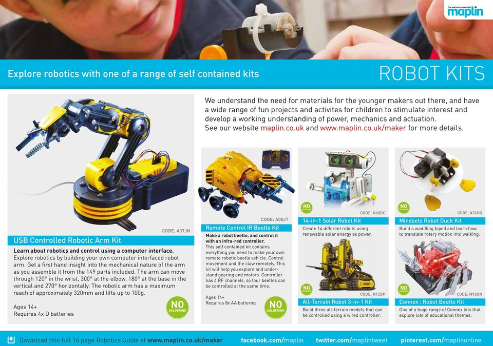 YOUR GUIDE TO ROBOTICS AT MAPLIN  Includes Self Contained Robot Kits
