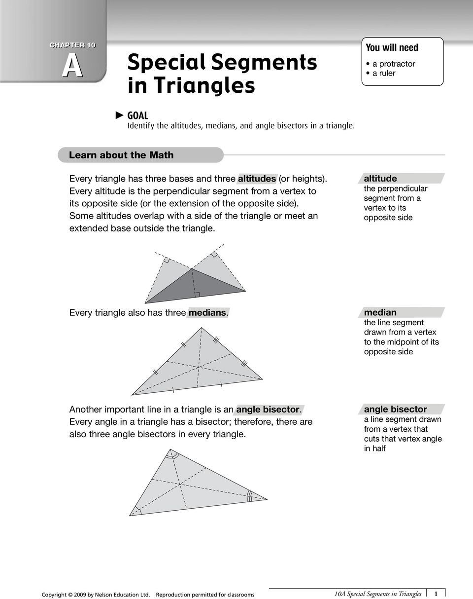 Worksheets Special Segments In Triangles Worksheet special segments in triangles pdf every altitude is the perpendicular segment from a vertex to its opposite side or the