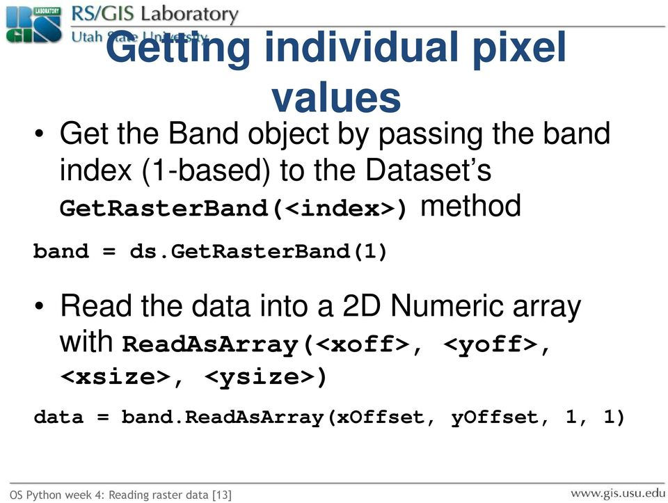 Reading Raster Data with GDAL - PDF