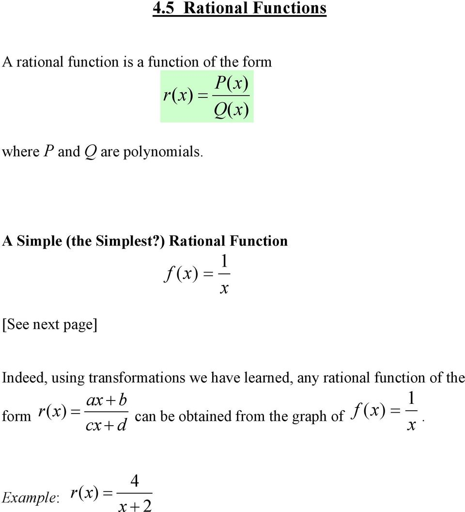 Chapter 4  Polynomial and Rational Functions  4 1 Polynomial