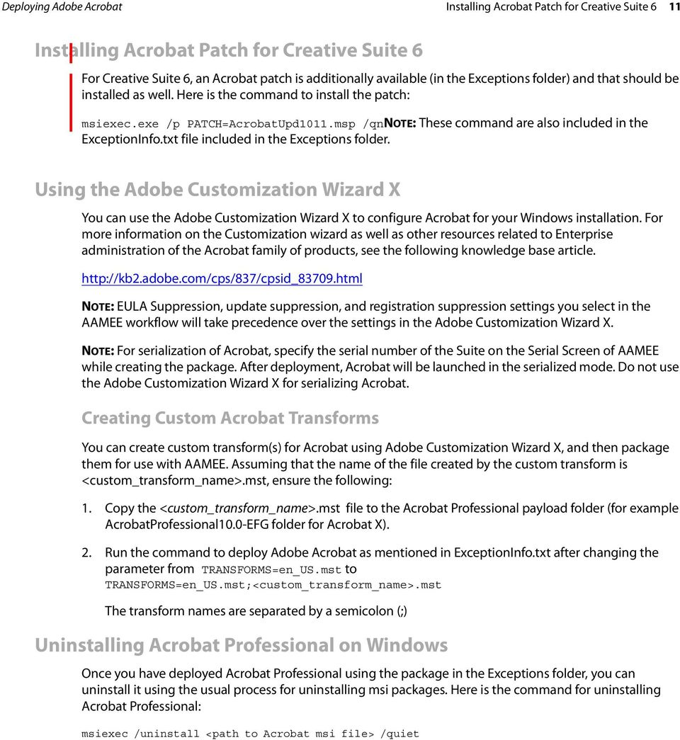 ADOBE APPLICATION MANAGER ENTERPRISE EDITION TECHNICAL NOTE