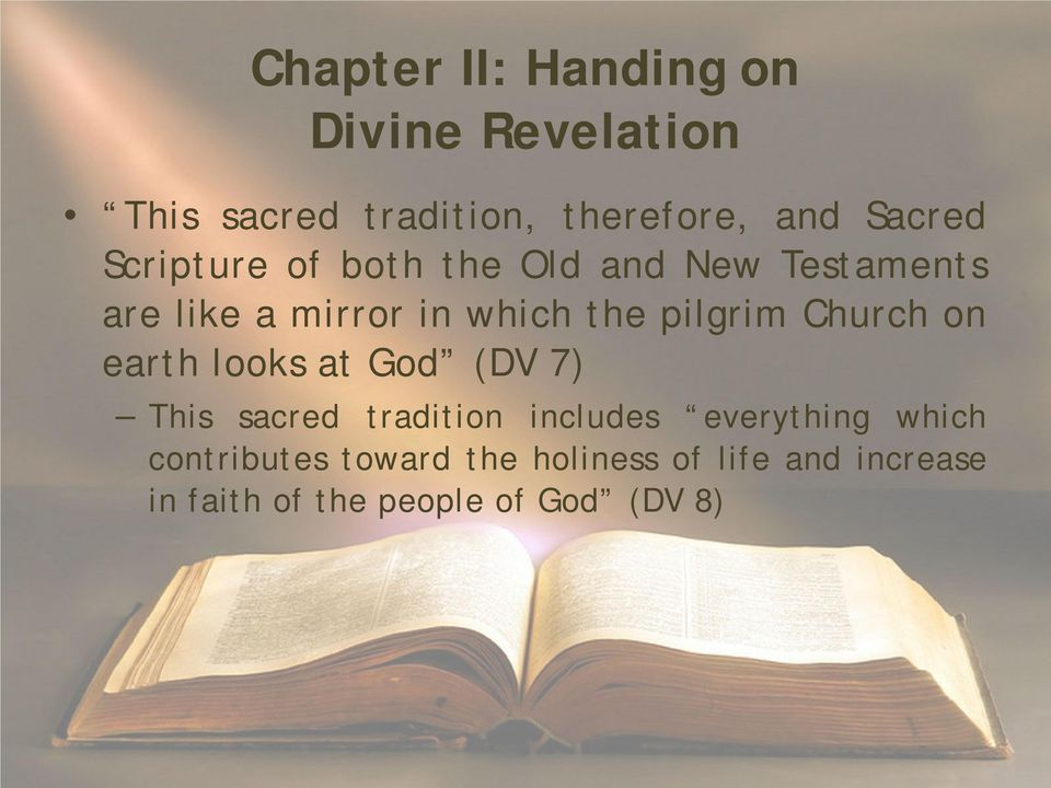 Church on earth looks at God (DV 7) This sacred tradition includes everything which