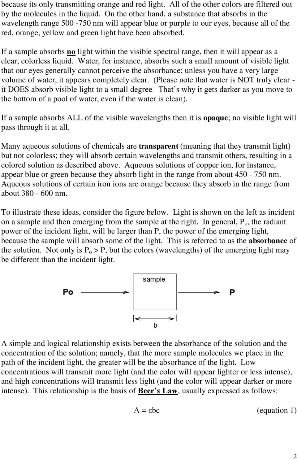If a sample absorbs no light within the visible spectral range, then it will appear as a clear, colorless liquid.
