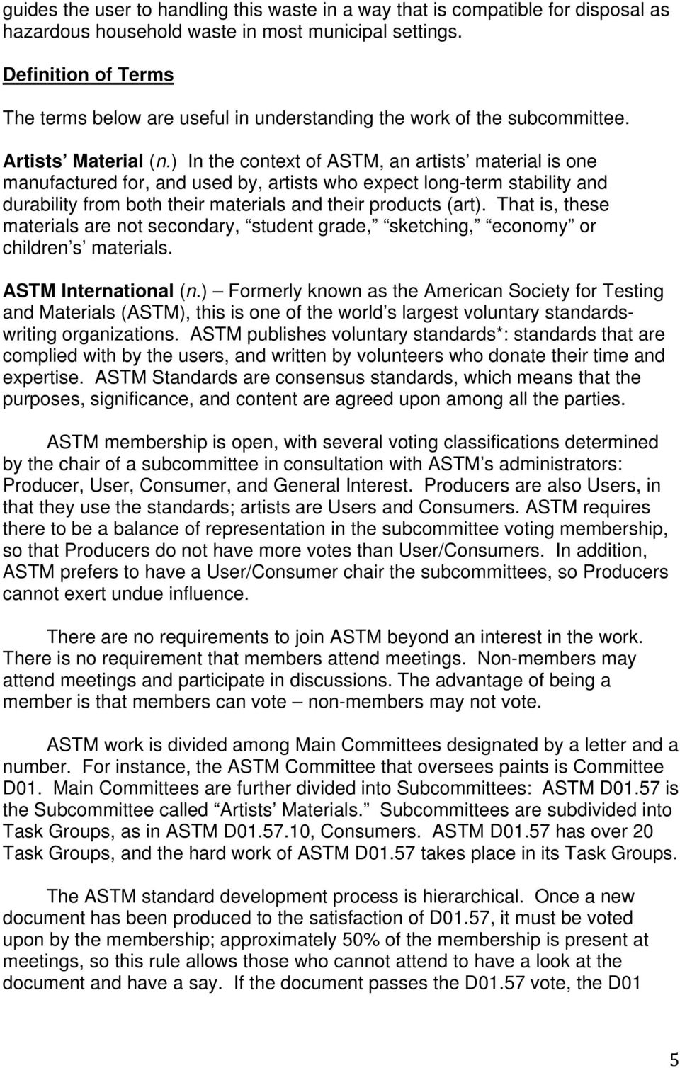 A Narrative Summary of ASTM International Standards Pertaining to