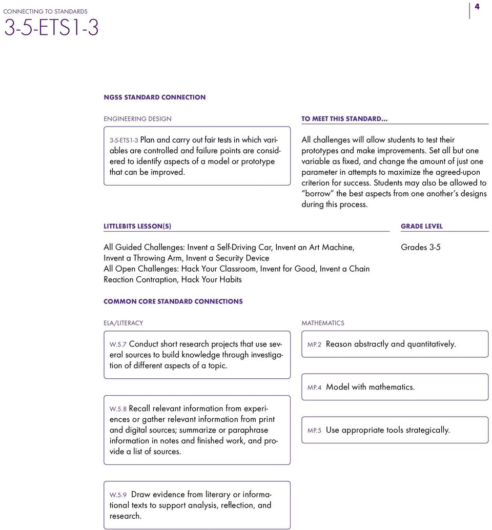 CONNECTING LESSONS NGSS STANDARD - PDF