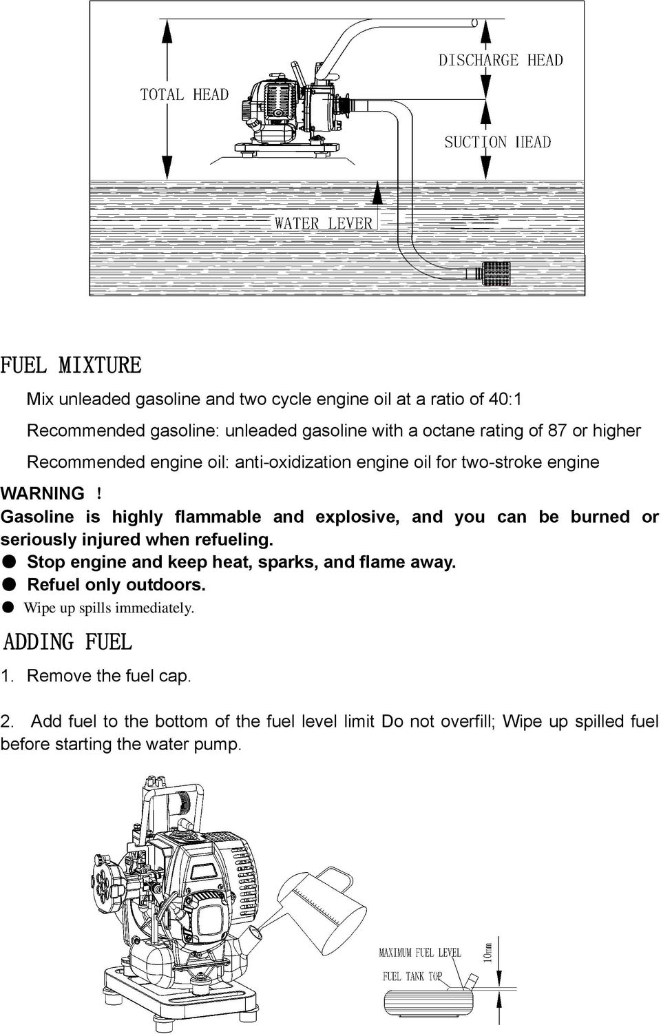 Operator S Manual Pump Model Pac25 Save This For Future 2 Cycle Engine Diagram Gasoline Is Highly Flammable And Explosive You Can Be Burned Or Seriously Injured When