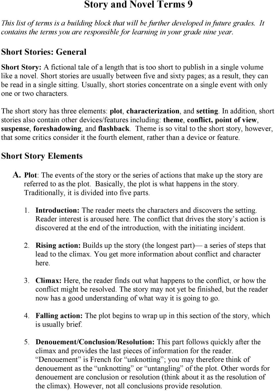 Story and Novel Terms 9 - PDF