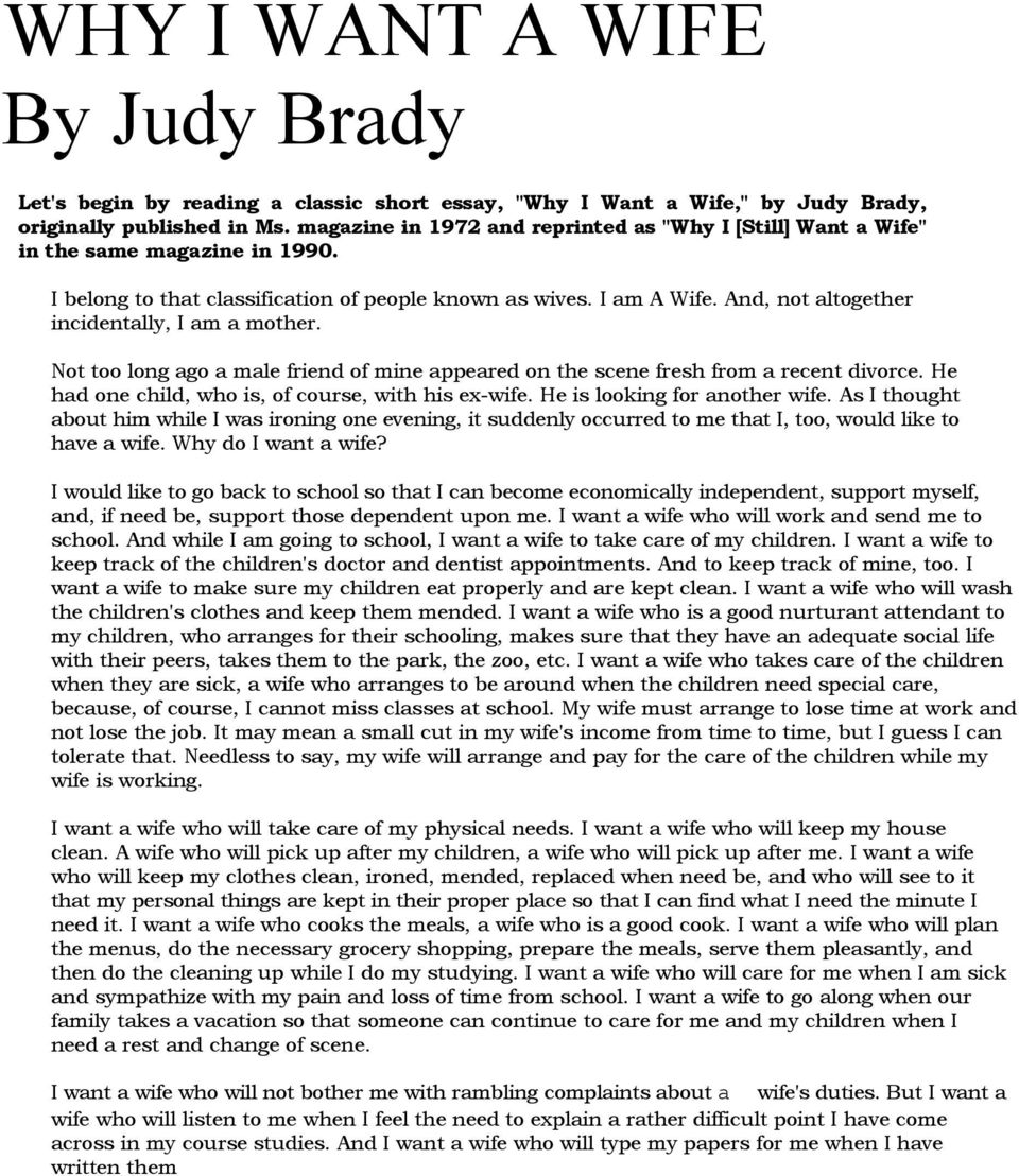 Why I Want A Wife By Judy Brady  Pdf And Not Altogether Incidentally I Am A Mother Not Too Long Ago A