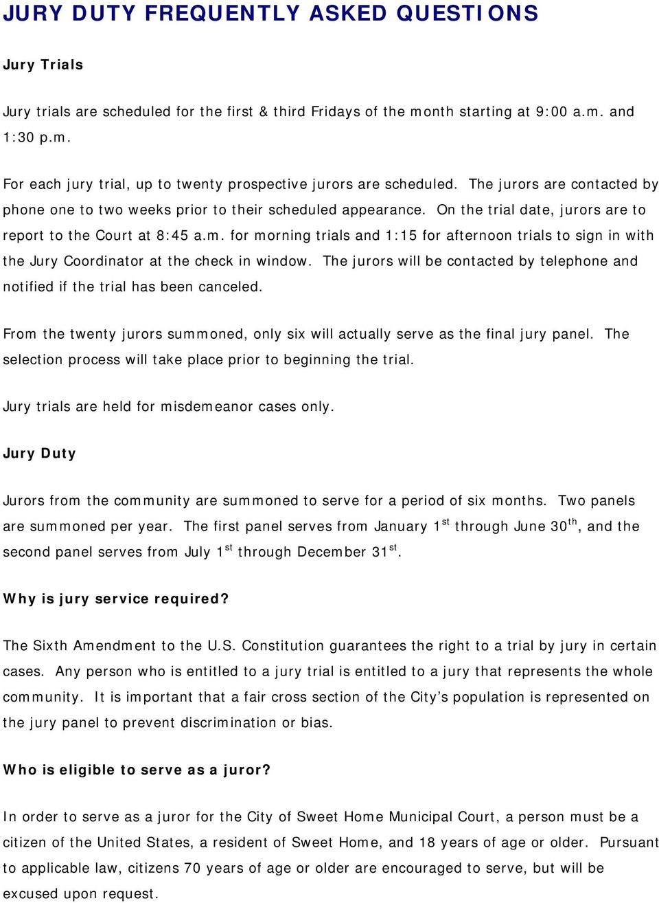 JURY DUTY FREQUENTLY ASKED QUESTIONS - PDF