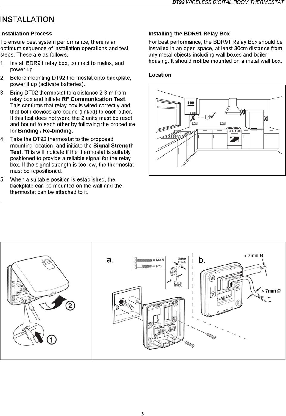 Dt92 Wireless Digital Room Thermostat Features Product Specification Wiring Diagram For Tado Bring To A Distance 2 3 M From Relay Box And Initiate Rf