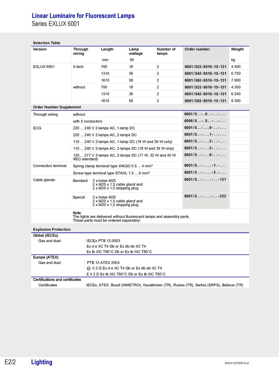 Linear Luminaire For Fluorescent Lamps Series Exlux Pdf Lamp Wiring 540 1610 58 2 6001 562 9010 15 131 8300 Through