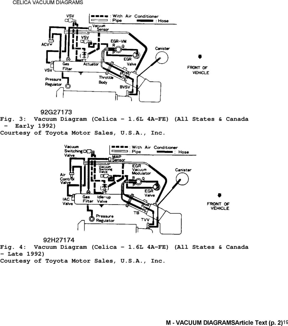 1992 Engine Performance Toyota Vacuum Diagrams Camry Celica 92 Distributor Wiring Diagram 4 1