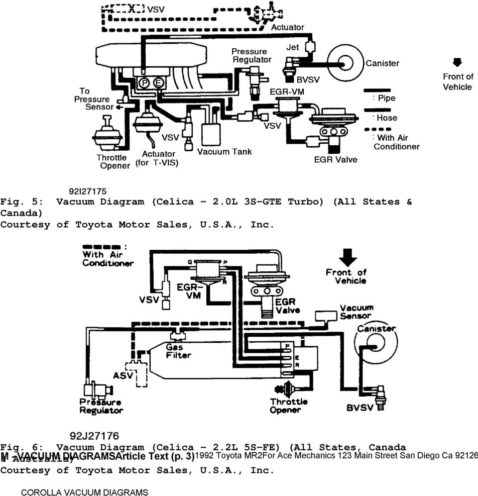 1992 Engine Performance Toyota Vacuum Diagrams Camry Celica Fiat Diagram 6 2
