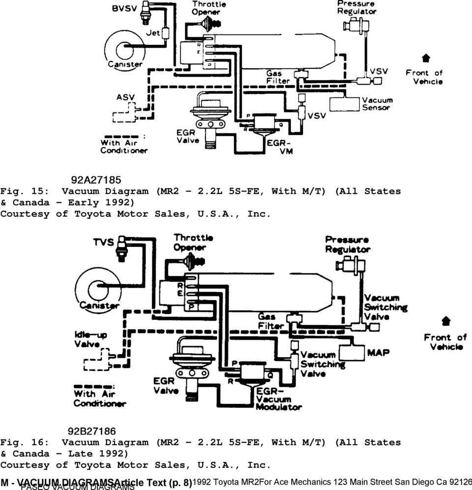 1992 Engine Performance Toyota Vacuum Diagrams Camry Celica 92 Tercel Diagram 16 Mr2 2