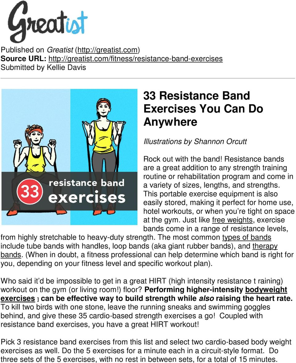33 Resistance Band Exercises You Can Do Anywhere Pdf Circuit Training With Bands Are A Great Addition To Any Strength Routine Or Rehabilitation Program And Come