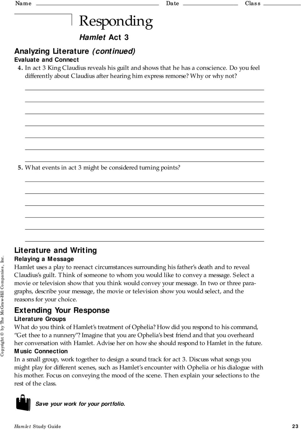 T He G Lencoe L Iterature L Ibrary Study Guide For Hamlet By William Shakespeare Pdf Free Download [ 1374 x 960 Pixel ]