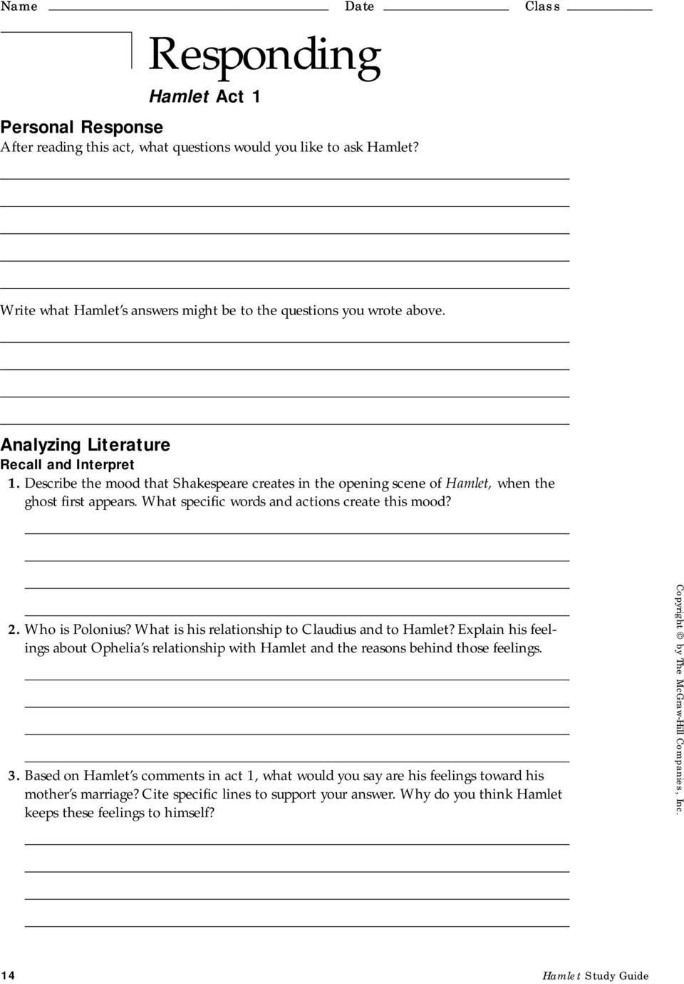 T He G Lencoe L Iterature L Ibrary Study Guide For Hamlet By William Shakespeare Pdf Free Download [ 1380 x 960 Pixel ]