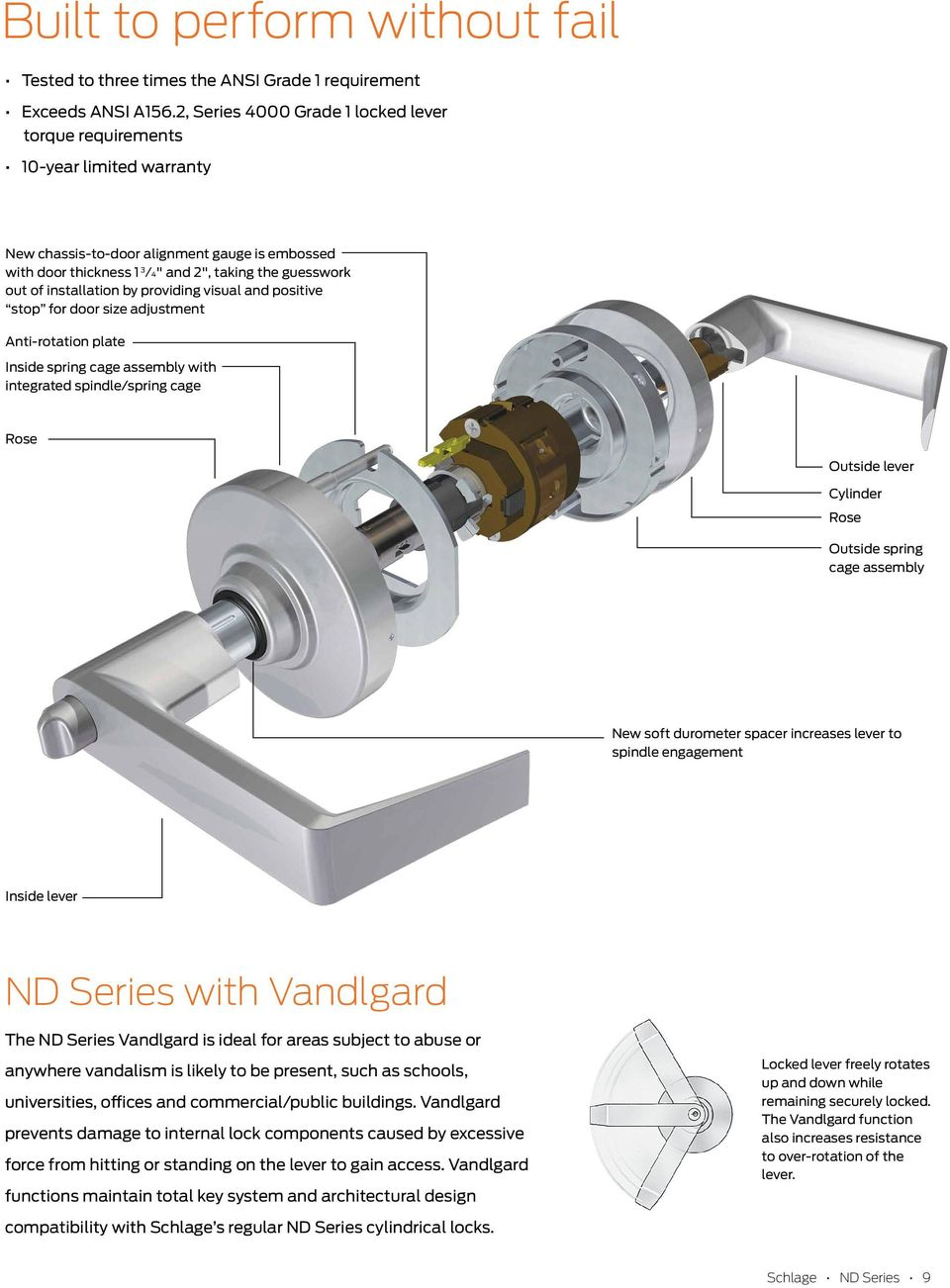 Nd Series Cylindrical Locks Pdf Schlage Door Knob Parts The Alseries Keyed Lever Lock Installation By Providing Visual And Positive Stop For Size Adjustment Antirotation Plate Spring Cage Assembly