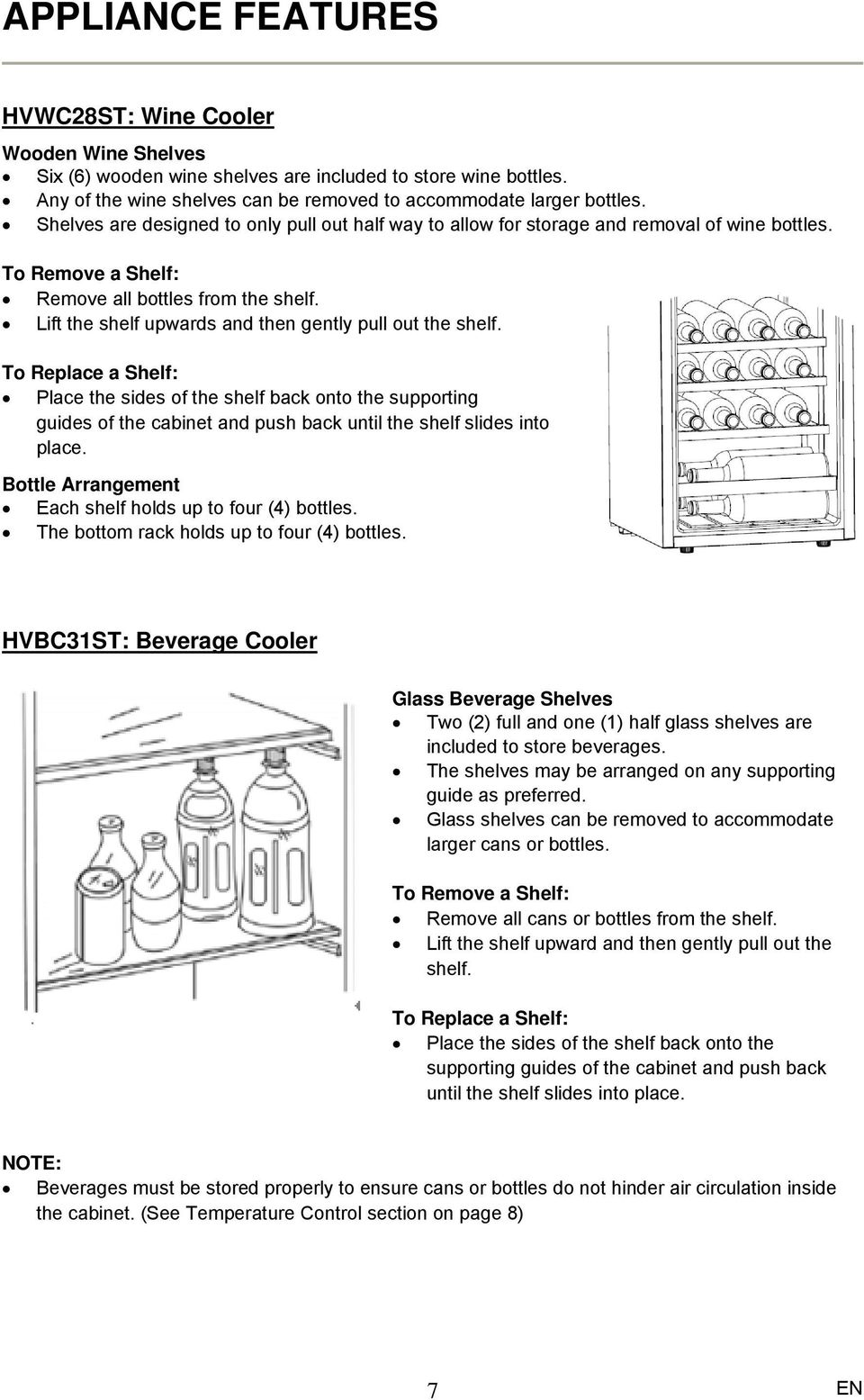 Stainless Steel Wine Beverage Cooler Instruction Manual Hvbc31st Pdf Wiring Diagram Lift The Shelf Upwards And Then Gently Pull Out