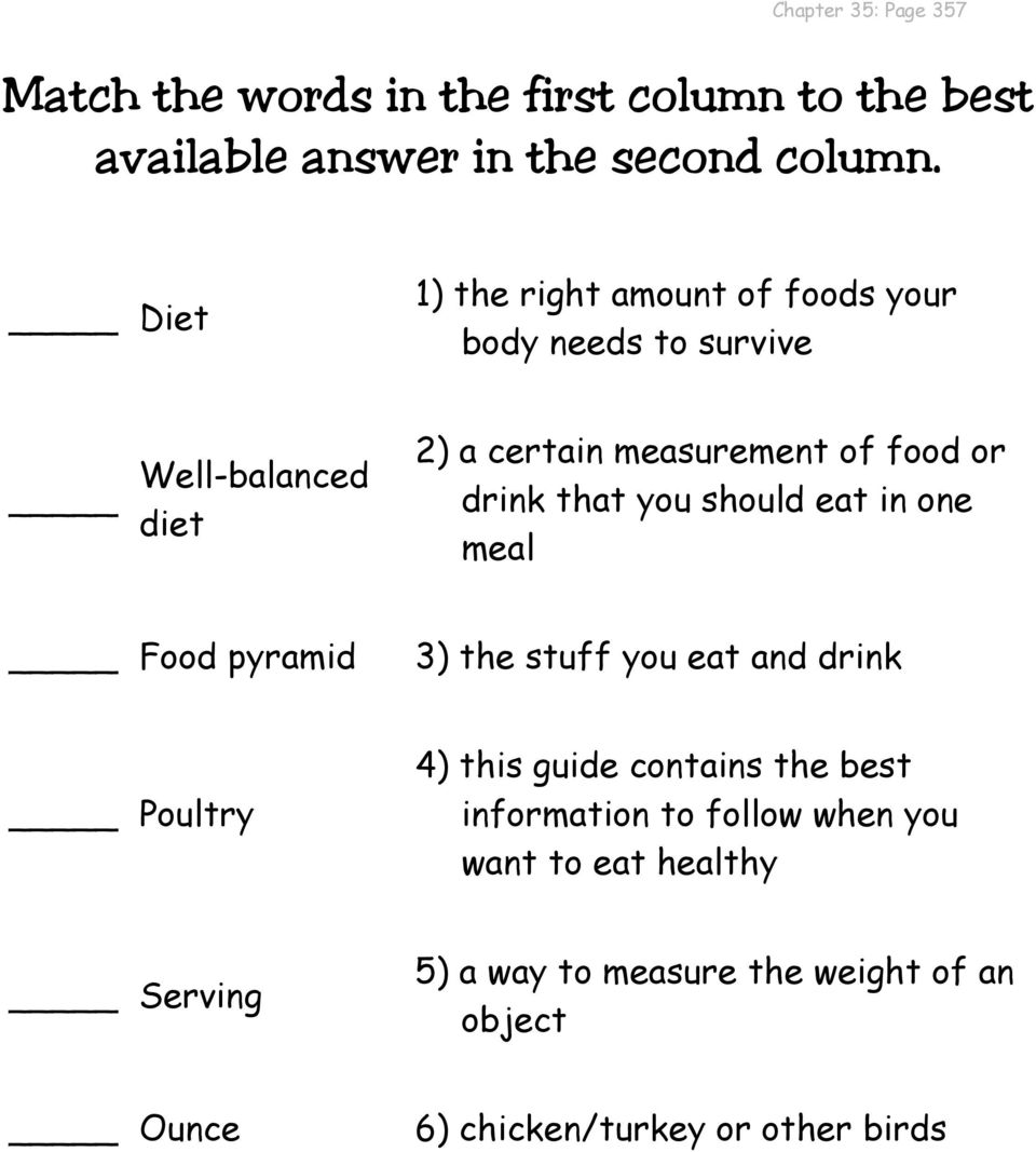 that you should eat in one meal Food pyramid 3) the stuff you eat and drink Poultry 4) this guide contains the best