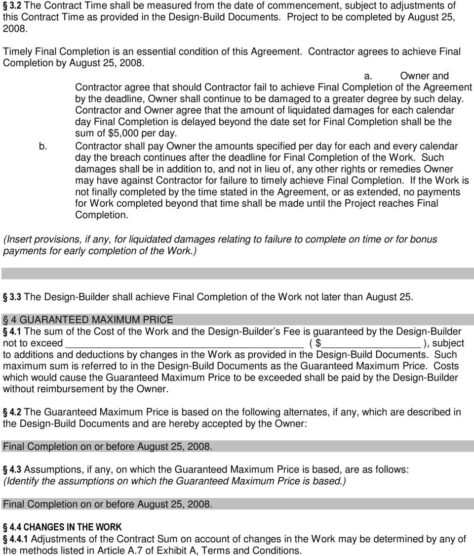 AIA Document A141 TM Standard From of Agreement Between Owner and