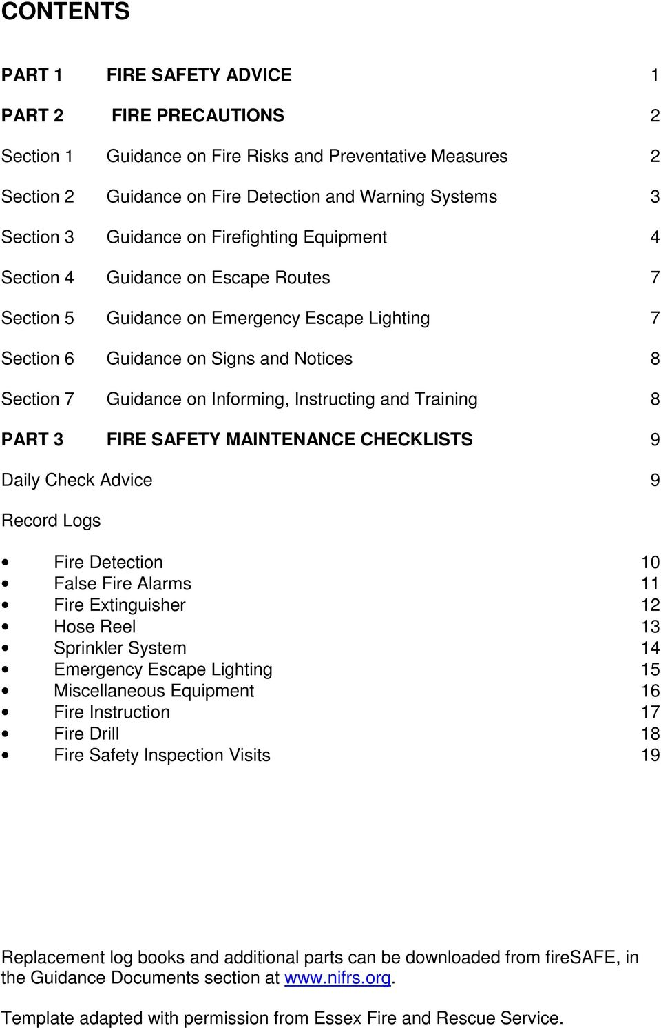 fire safety log book occupier check training.html