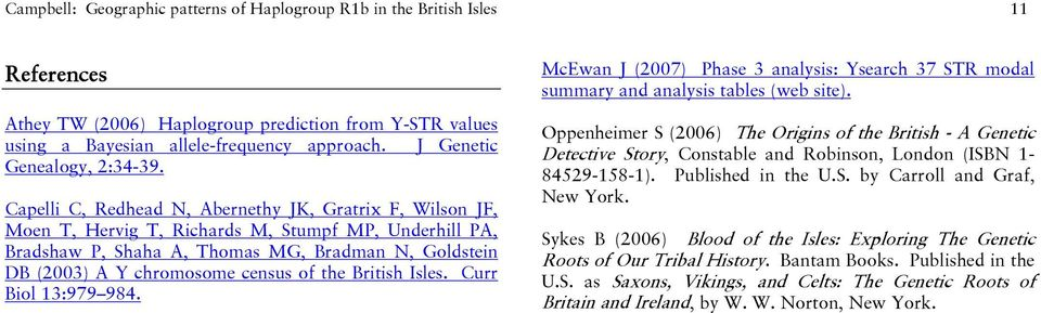 Geographic Patterns of Haplogroup R1b in the British Isles - PDF