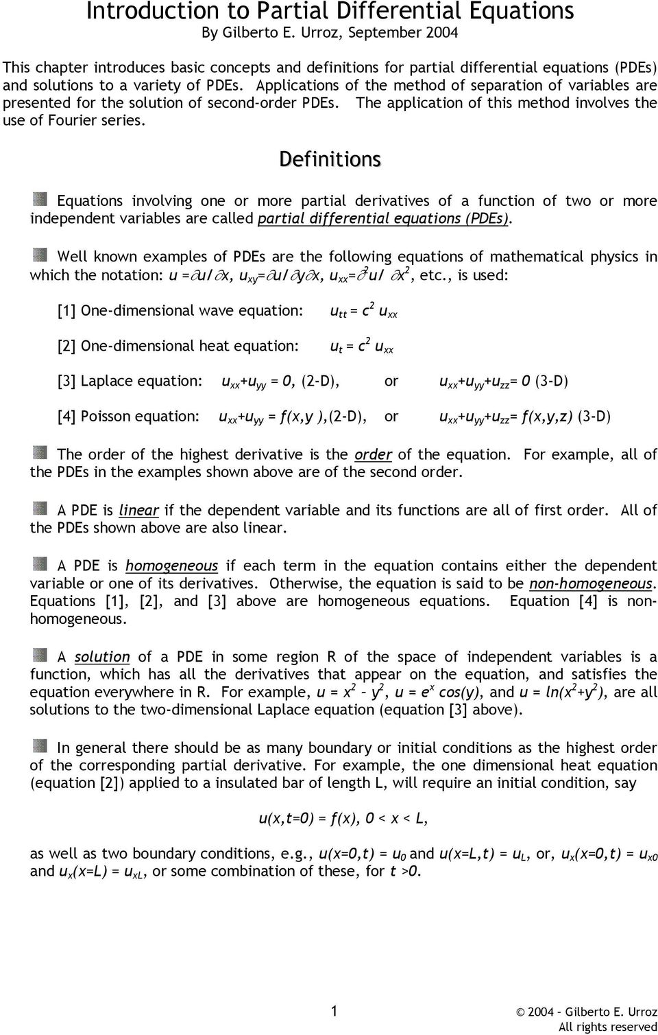 Introduction to Partial Differential Equations By Gilberto E