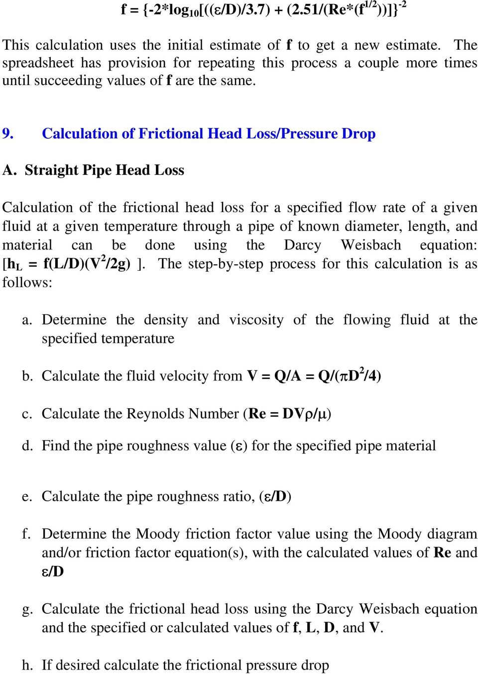 Pipe Friction Loss Calculator Free Download