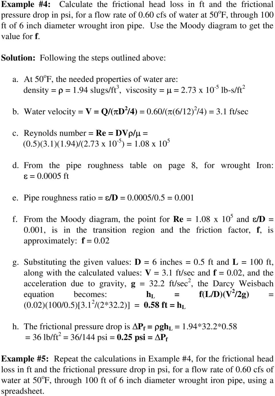 Pipe flow friction factor calculations with excel pdf 73 x 10 5 lb sft 2 b water velocity ccuart Gallery