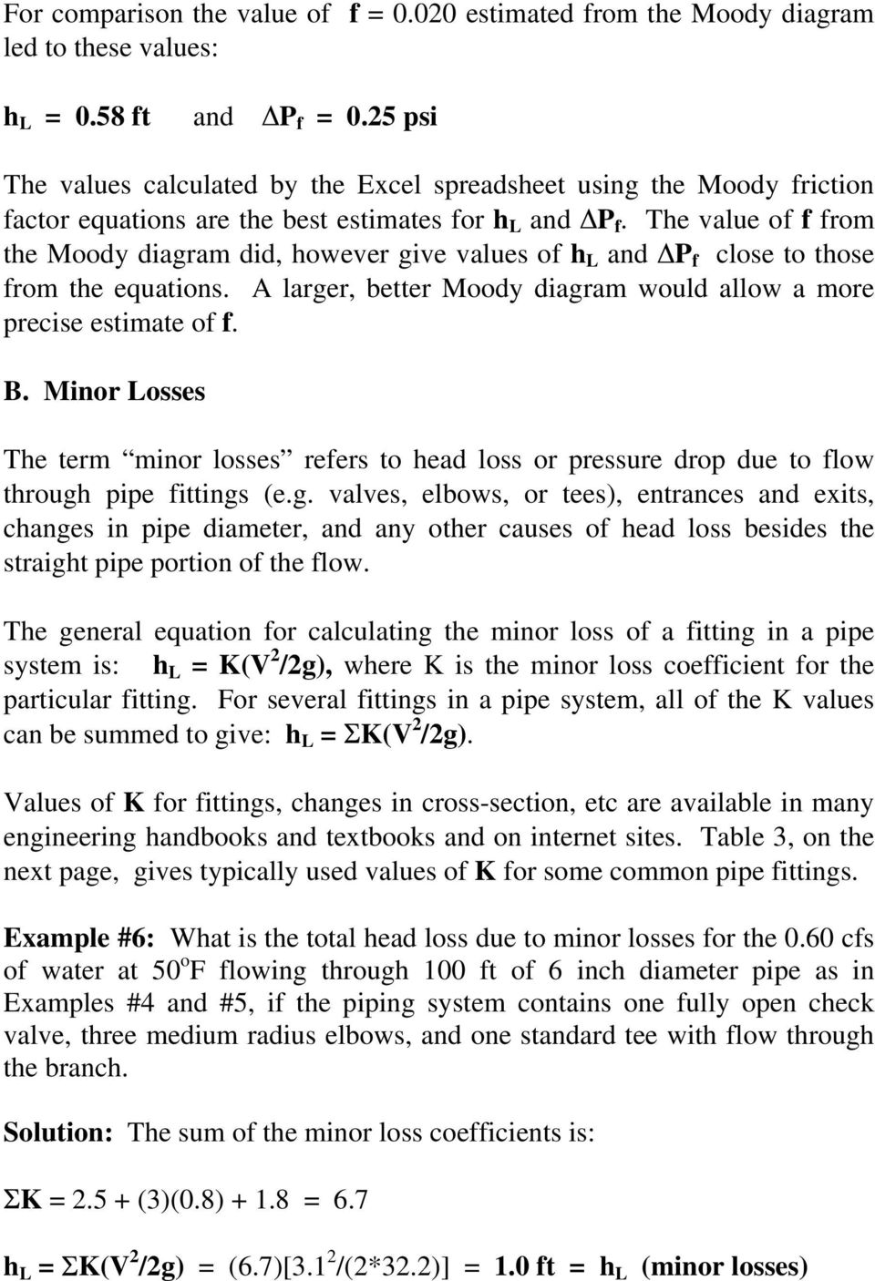 Pipe flow friction factor calculations with excel pdf the value of f from the moody diagram did however give values of h l ccuart Image collections