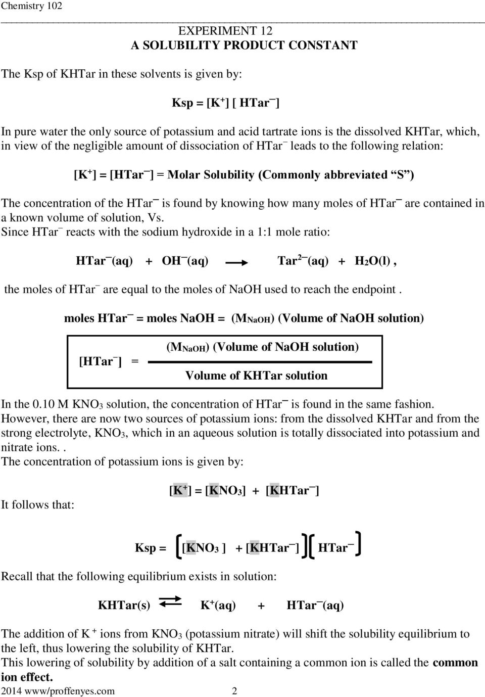 EXPERIMENT 12 A SOLUBILITY PRODUCT CONSTANT - PDF