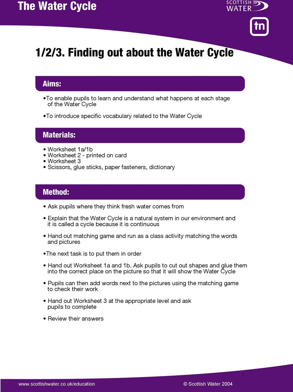 Worksheet 1a/1b Worksheet 2 - printed on card Worksheet 3 Scissors, glue sticks, paper fasteners, dictionary Method: Ask pupils where they think fresh water comes from Explain that the Water Cycle is