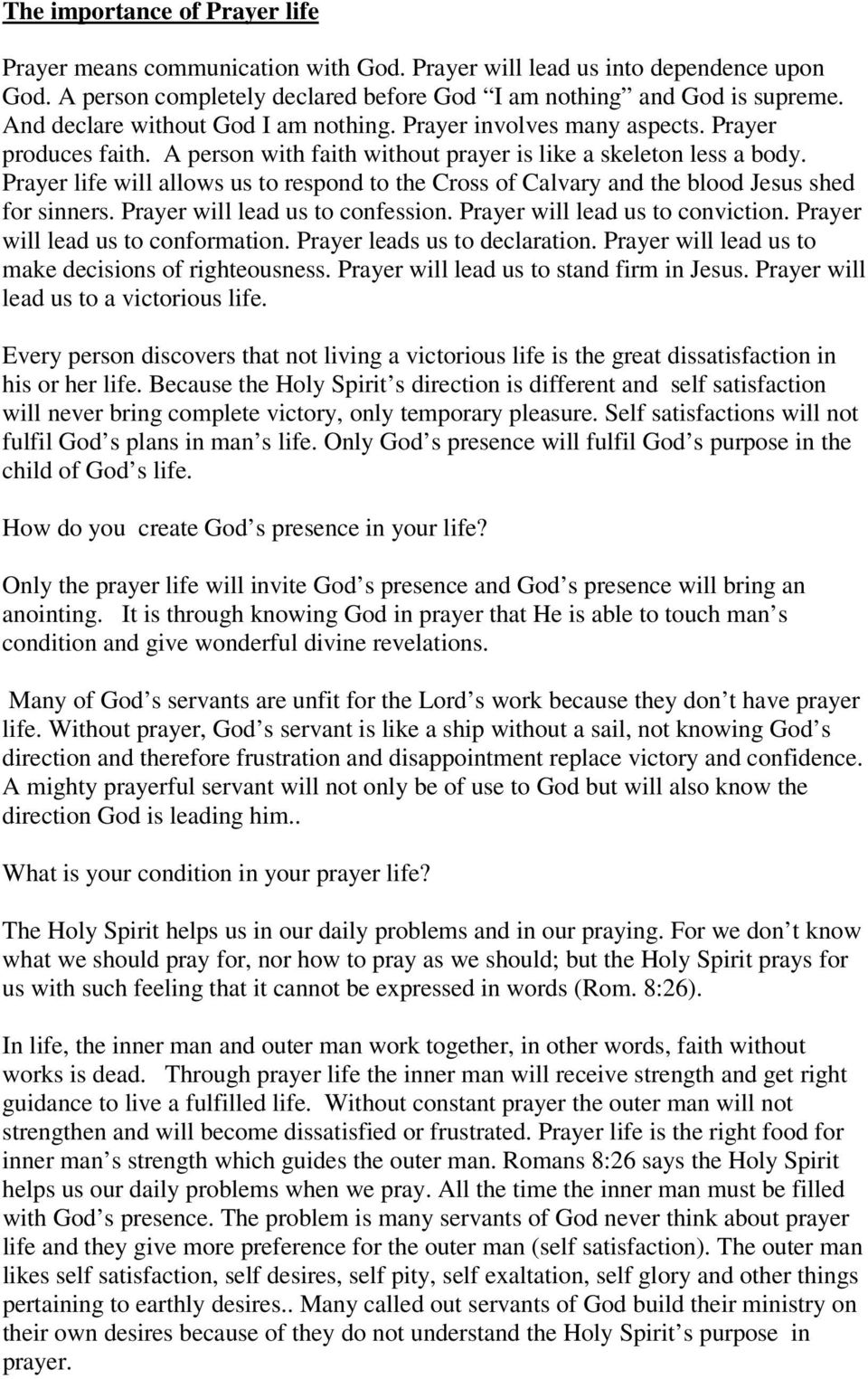 The importance of Prayer life - PDF