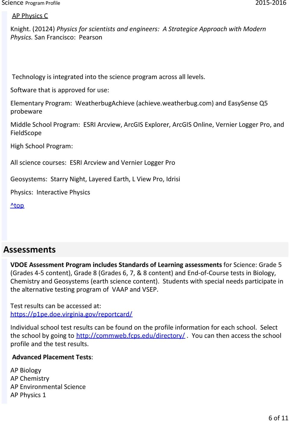 Science  Overview  Student Summary  Science Program Profile