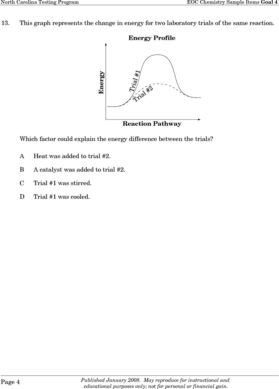 Energy Profile Reaction Pathway Which factor could explain the energy difference between