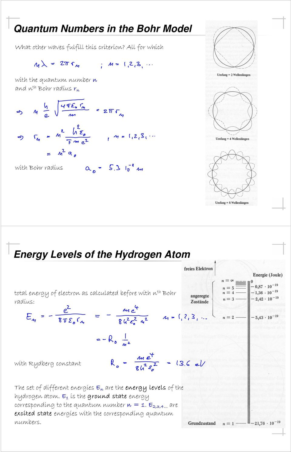 constant The set of different energies are the of the hydrogen atom.