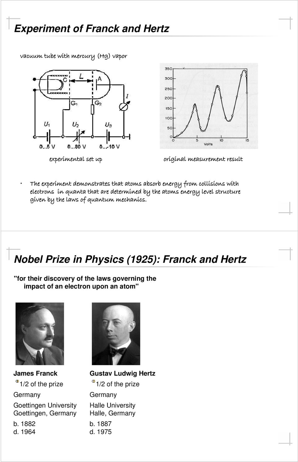 "Nobel Prize in Physics (1925): Franck and Hertz ""for their discovery of the laws governing the impact of an electron upon an atom"" James Franck 1/2 of the"