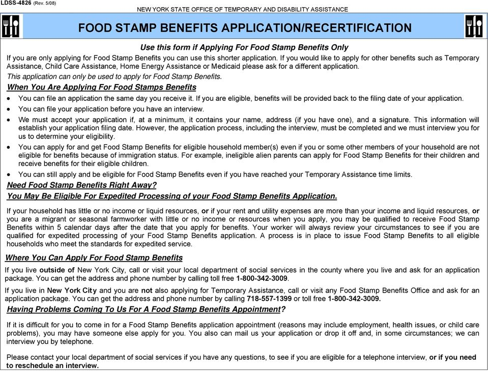 Food Stamp Benefits Applicationrecertification Pdf