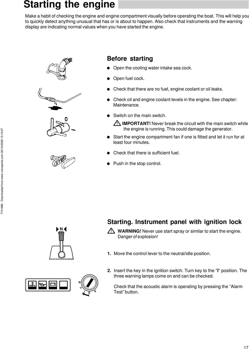 Operator S Manual Md2010 Md2020 Md2030 Md Pdf Mins Marine Wiring Diagrams Check That There Are No Fuel Engine Coolant Or Oil Leaks And