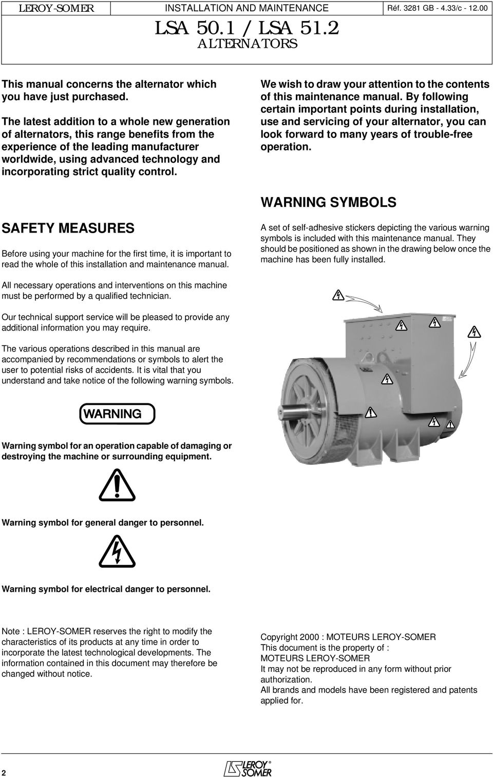 users guide and maintenance manual leroy somer alternators lsa 50 1we wish to draw your attention to the contents of this maintenance manual