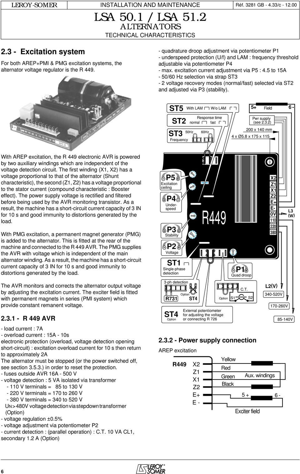 Users Guide And Maintenance Manual Leroy Somer Alternators Lsa 501 For Threephase Alternator Automotive Voltage Regulator Circuit System 5 To 15a 50 60 Hz Selection Via Strap St3 2 Recovery