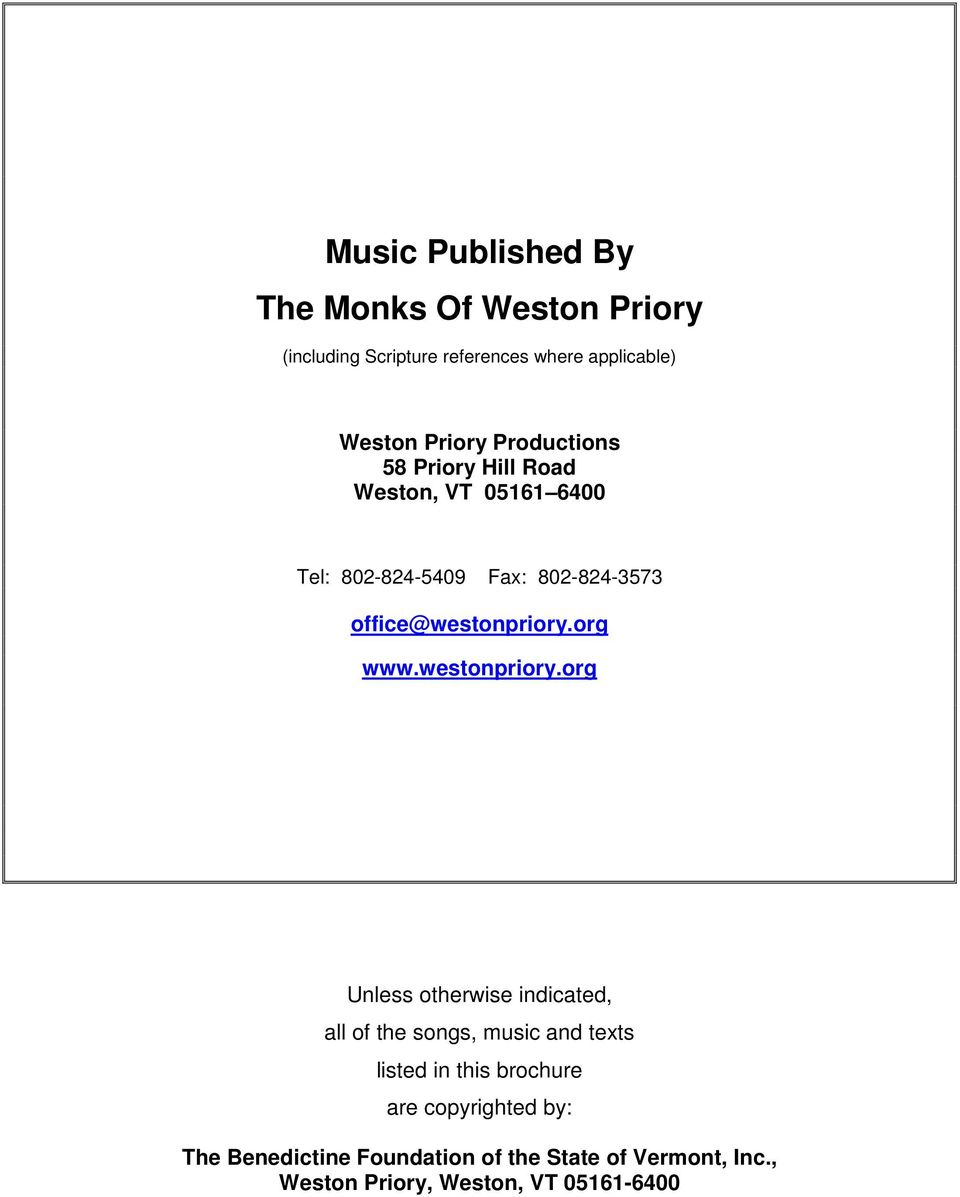 Music Published By The Monks Of Weston Priory Pdf Free Download