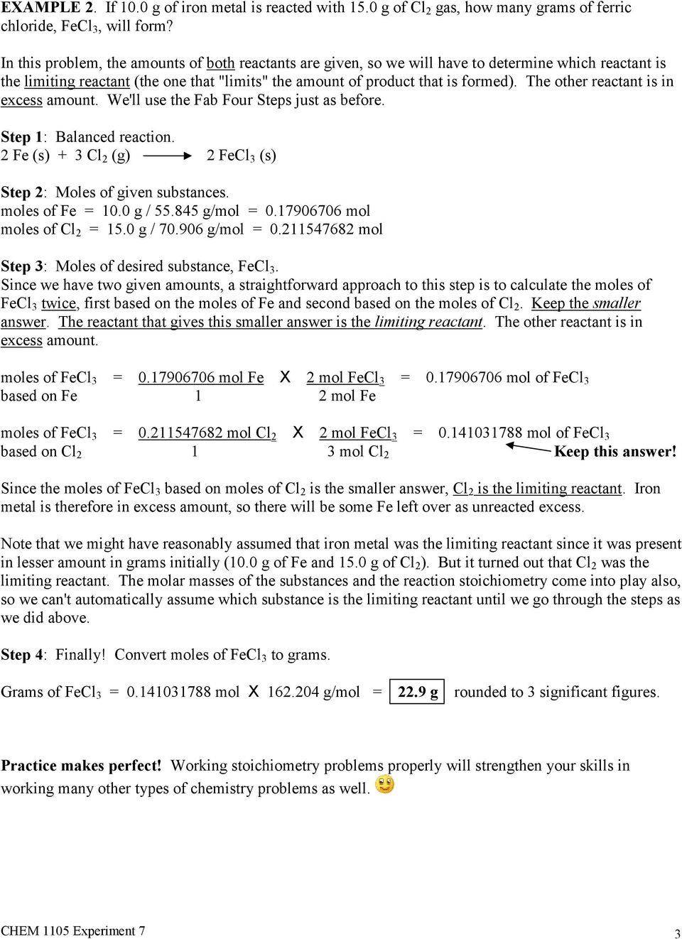 Chem 1105 Experiment 7 Answers