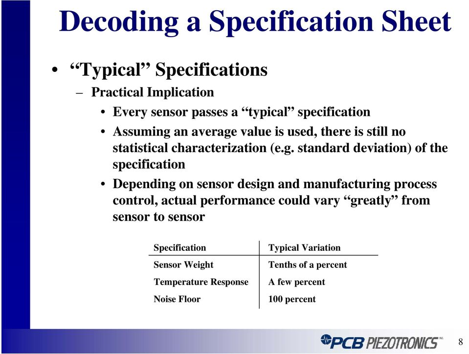 standard deviation) of the specification Depending on sensor design and manufacturing process control, actual
