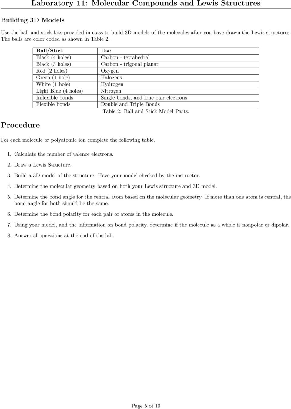 Laboratory 11: Molecular Compounds and Lewis Structures - PDF
