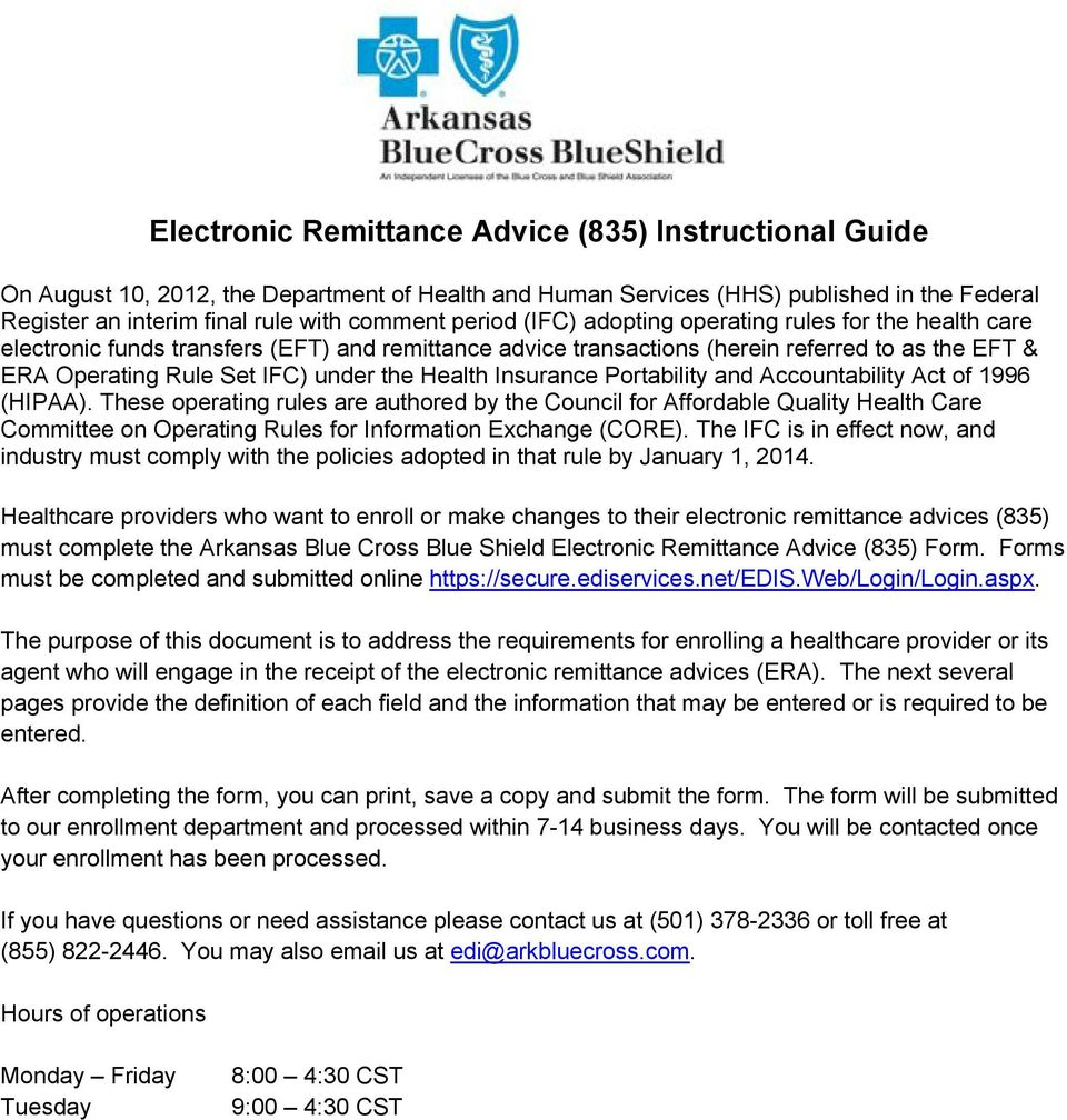 Electronic Remittance Advice (835) Instructional Guide - PDF