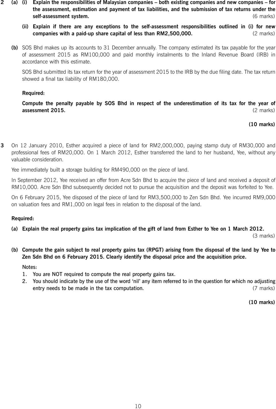 Paper F6 Mys Taxation Malaysia Specimen Exam Applicable From